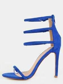 Triple Strap Faux Suede Heels BLUE