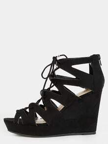 Open Toe Suede Ankle Wedges BLACK