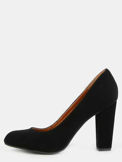 Round Toe Chunky Heel Pumps BLACK