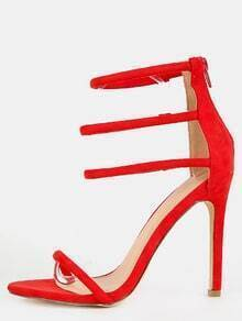 Suede Strap Single Sole Heels RED