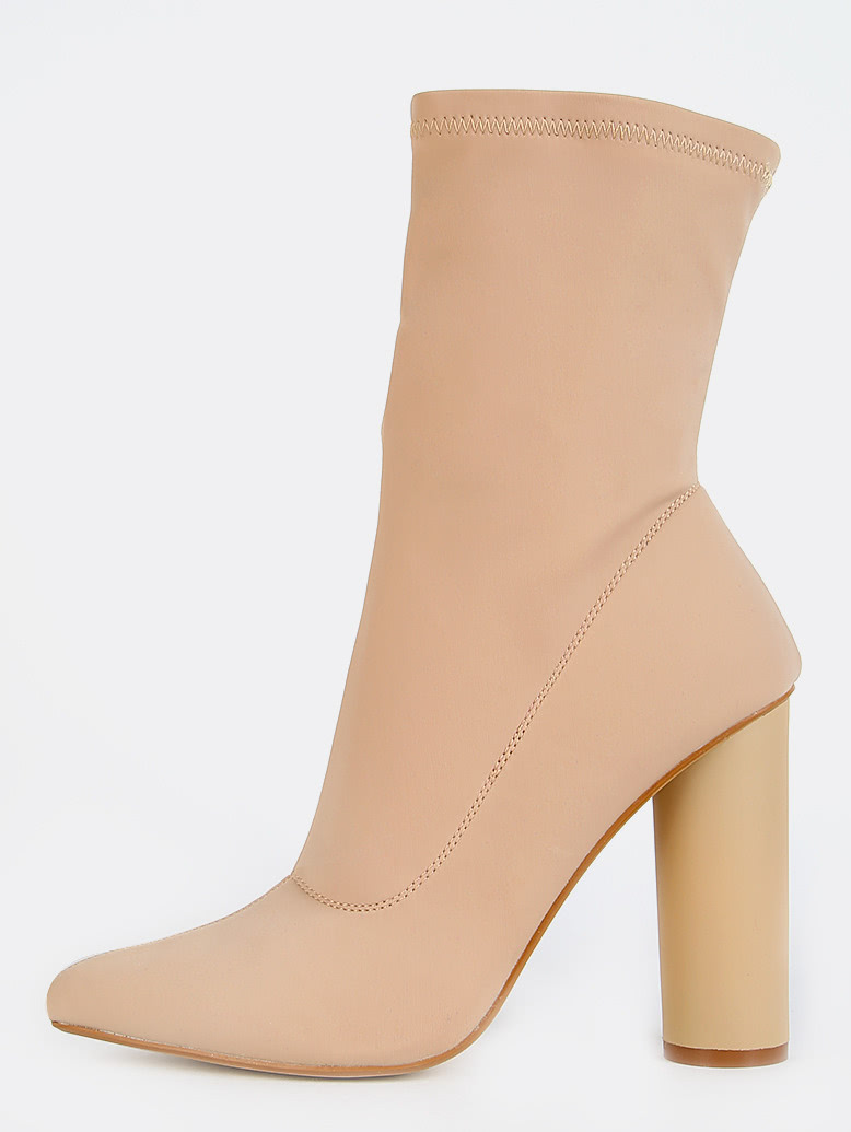 Pointy Toe Cylinder Heel Boots NUDE mmcboot-paw1-nude
