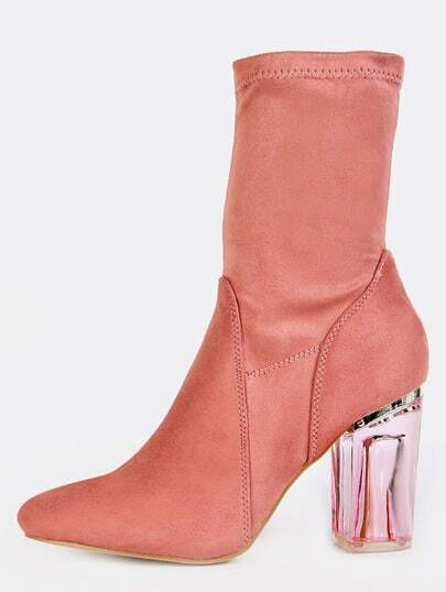 High Shaft Clear Heel Booties DUSTY ROSE