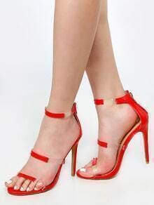 Clear Strap Stiletto Heels RED