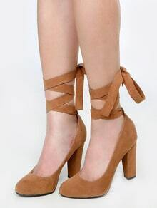 Lace Up Chunky Heel Pumps CAMEL