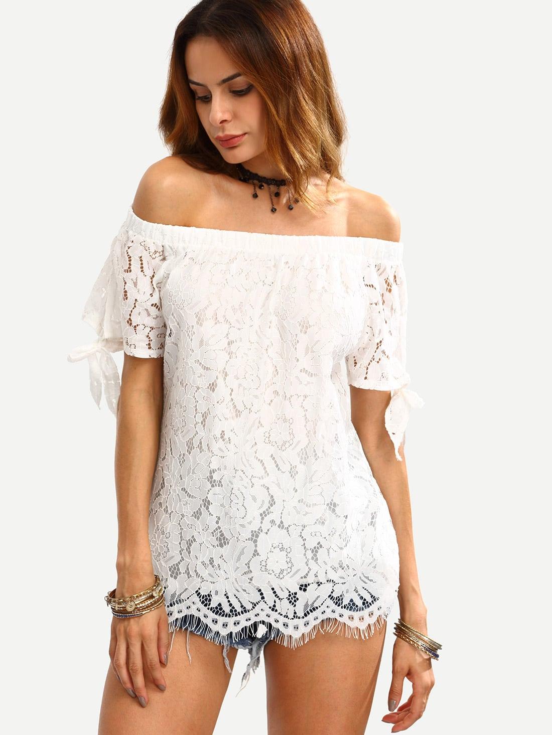 Фото Bardot Tied Sleeve Lace Overlay Top. Купить с доставкой