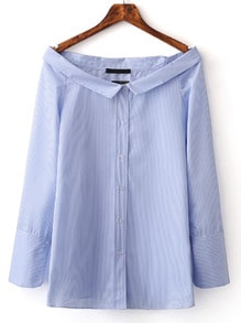 Blue Boat Neck Stripe Buttons Front Blouse