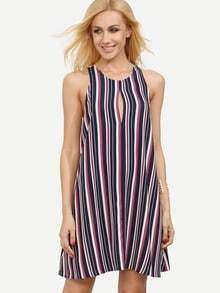 Multicolor Vertical Striped Hollow Dress