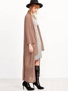 Pink Long Sleeve Asymmetrical Chiffon Outwear