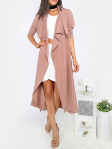 Draped Neck Tie Waist Long Sleeve Outerwear