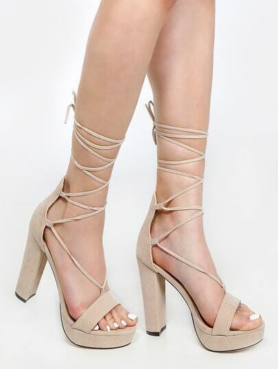 Platform Lace Up Chunky Heels NUDE