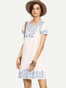 Porcelain Embroidered Shift Dress