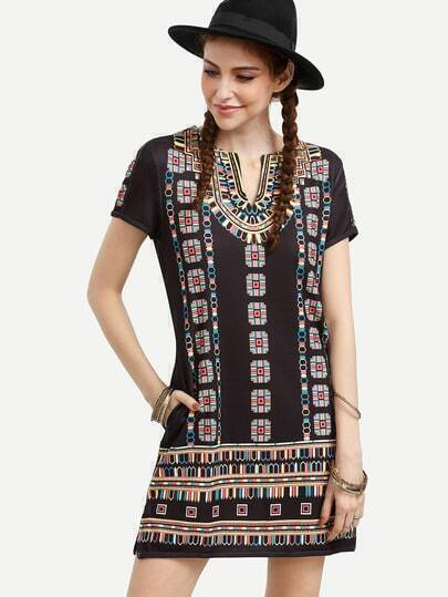 Black Short Sleeve Print Shift Dress