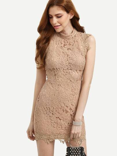 Khaki Sleeveless Lace Hollow Back Bodycon Dress