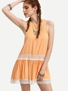 Orange Lace Panel Sleeveless Shift Dress