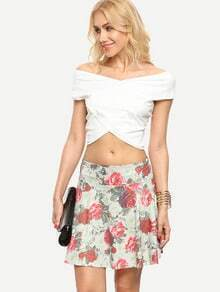 Multicolor Cross Wrap Crop Top With Rose Print Skirt