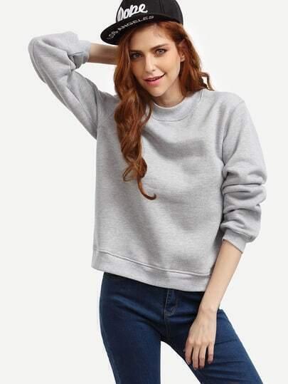 Grey Crew Neck Side Slit Sweatshirt