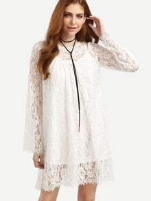 Beige Bell Sleeve Lace Embroidered Dress