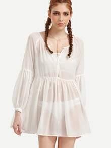 Beige Puff Sleeve Pleated Dress