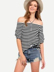 Black White Striped Off The Shoulder T-shirt
