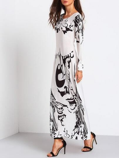 Abstract Print Chiffon Maxi Dress