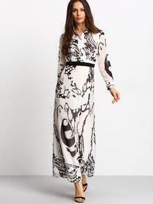 White Floral Contrast Belt Maxi Dress