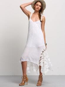 White Backless Lace Splicing Handkercheif Hem Strap Dress