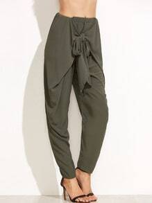Army Green Bow Decorated Pants
