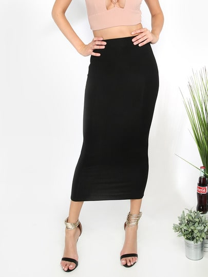 Black  Basic Sheath Midi Skirt