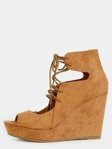Tie Up Faux Suede Wedges TAN