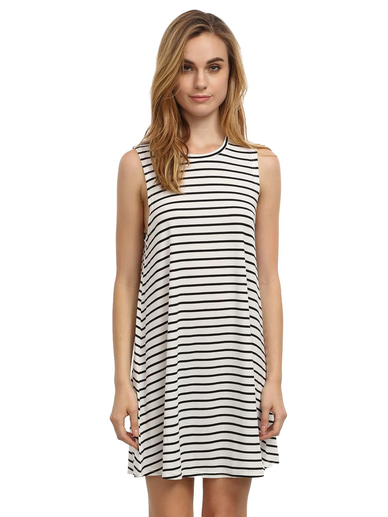 Фото White Striped Sleeveless Dress. Купить с доставкой