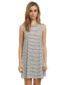 White Striped Sleeveless Dress