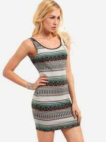Multicolor Print Sleeveless Backless Bodycon Dress