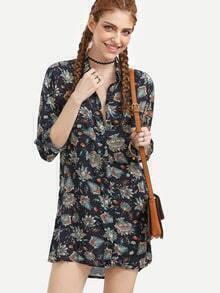 Multi Color Tribal Print Cuffed Sleeve Shirt Dress
