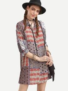Multi Color Paisley Print Cuffed Sleeve Shirt Dress