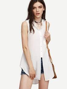 White Dip Hem Sleeveless Blouse With Pocket