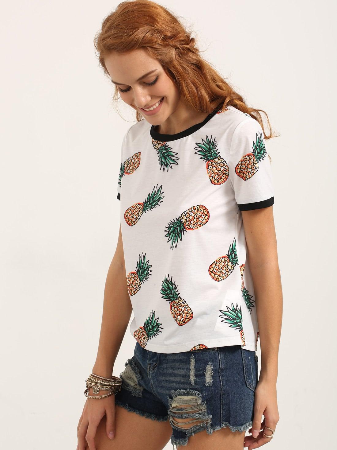 Multicolor Short Sleeve Fruit Print T-shirtMulticolor Short Sleeve Fruit Print T-shirt<br><br>color: Multi<br>size: L,M,S,XS