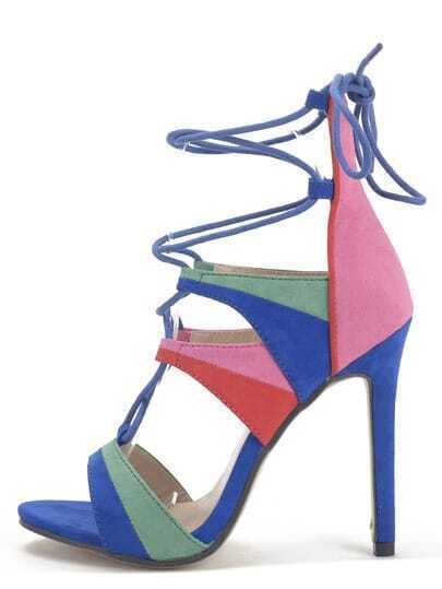 Multicolor Peep Toe Lace-up Stiletto Sandals