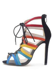 Multicolor Peep Toe Hollow Lace-up Heels