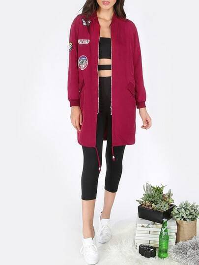 Red Letters Patch Long Sleeve Zipper Jacket