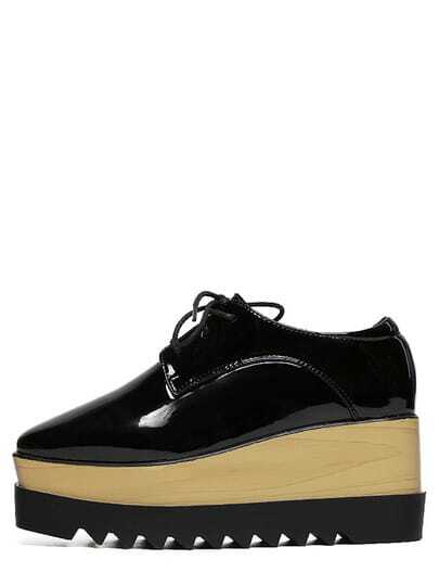 Faux Patent Lace-up Flatform Oxford Wedges