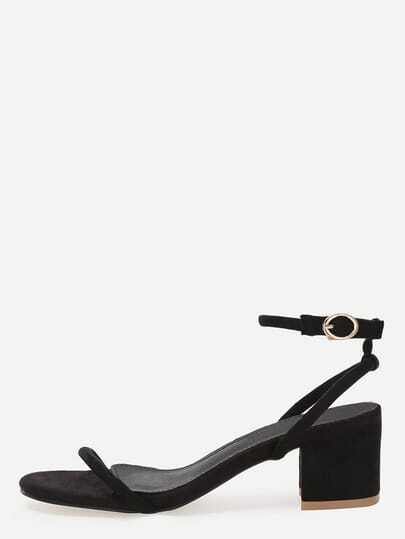 Black Faux Suede Leather Ankle Strap Sandals