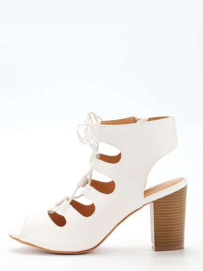 Lace-Up Block Heel Pumps - White