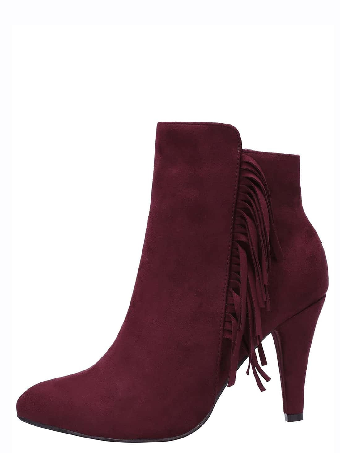 burgundy high heel tassel boots shein sheinside