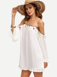 White Pompom Decorated Bell Sleeve Shift Dress