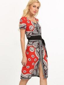 Self-Tie Flower Print Dress - Red