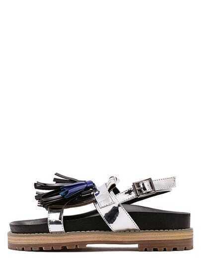 Silver Peep Toe Fringe Buckle Strap Sandals