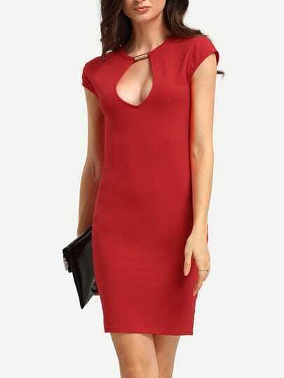 Red Keyhole Neck Short Sleeve Bodycon Dress