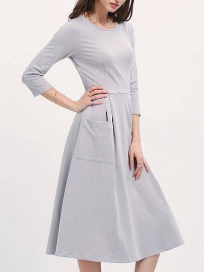 Grey Boat Neck Pockets Midi Dress