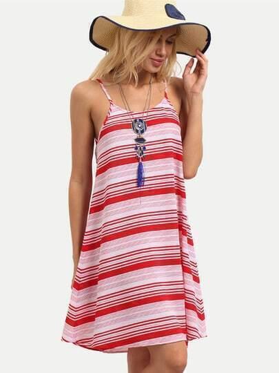 Multicolor Striped Spaghetti Strap Shift Dress
