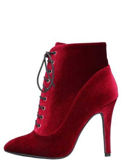 Red Lace Up High Heeled Boots
